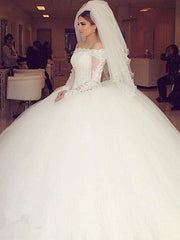 onlybridals Off-the-shoulder Lace Long Sleeves Organza Wedding Dresses Ball Gowns
