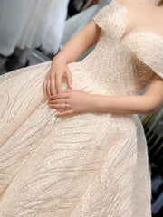 onlybridals  Off White Off Shoulder Crystal Sequin Bling Long Tail Wedding Dress Bridal Gown wedding dress - onlybridals