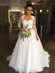 onlybridals Vintage Long Sleeves Wedding Dresses Lace Applique Cheap Bohemian A Line Tulle Country Boho Bridal Gowns Wedding Dress Vestido de novia - onlybridals