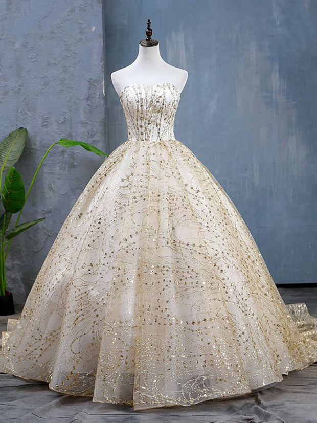 onlybridals Shining Strapless Elegant Long Train Wedding Ball Gowns Plus Size Lace Up - onlybridals