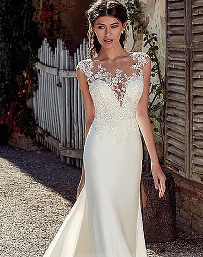 onlybridals Satin Bateau Neckline Mermaid Wedding Dresses With Lace Appliques Sheer Bridal Dress Illusion Back