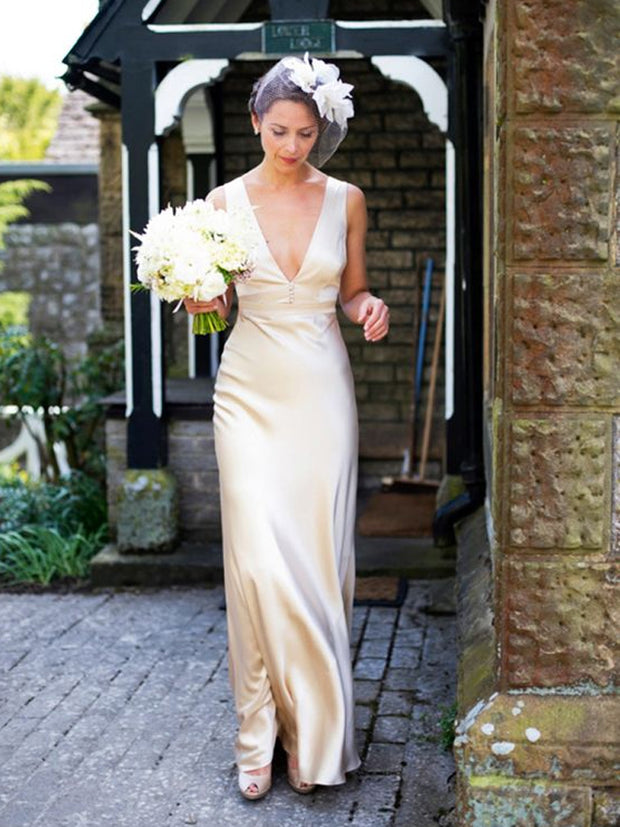 onlybridals Sleeveless V-Neck Floor-Length Empire Summer Wedding Dresses Vintage Simple Style Bridal Gown