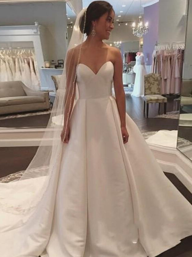 onlybridals Charming Sweetheart Neck A-line Wedding Dresses Court Train Lace Up Back Satin Bridal Wedding Gowns Vestido De Novia - onlybridals