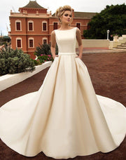 onlybridals 2020 New Elegant Satin Beach Wedding Dresses With Pockets Backless Bow Boho Beach A Line Backless Wedding Dress Bridal Gowns - onlybridals