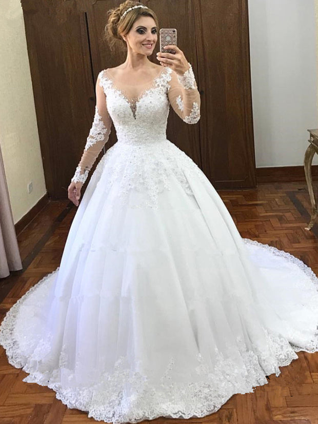 onlybridals  Phantom Ball Dress Wedding Dress Long Sleeve Wedding Dress Lace Bead Ceremony - onlybridals