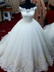 onlybridals Romantic Lace V-neck Off The Shoulder Ball Gown Wedding Dresses
