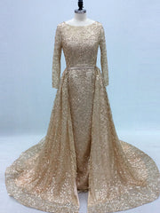 onlybridals Sparkly Glitter Sequin Long Sleeves with Train Arabic Formal Party Gown Prom Dress