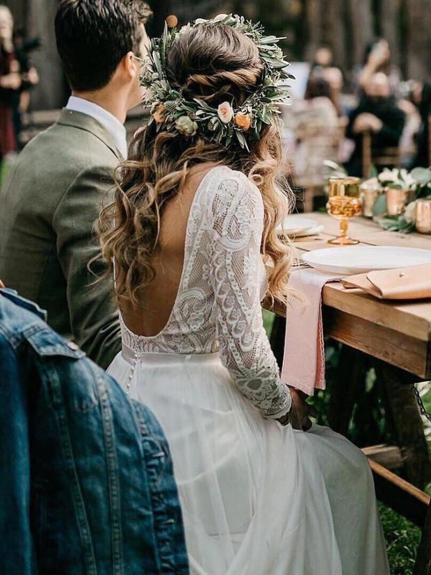 onlybridals Beach Bohemian Wedding Dresses Sexy Backless Long Sleeve Country Boho Bridal Gowns 2019 Wedding Dress vestidos de novia - onlybridals