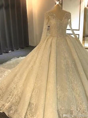 onlybridals Factory real Luxurious Long Sleeve Lace Wedding Dresses Ball Gown Lace - onlybridals