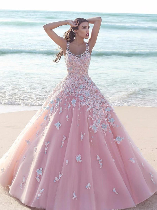 onlybridals Princess Floral Flower Pink Ball Gown Quinceanera Dresses Tulle Scoop Sleeveless Lace Bodice Long Prom Dresses