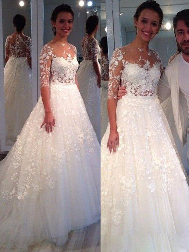 onlybridals  Hot sale Custom made weding dress 2019 Lace Appliques A-Line half sleeve Wedding Gowns - onlybridals
