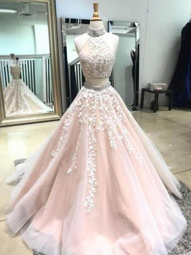 onlybridals Two Pieces Prom Dresses,Prom Dresses A-Line,Long Prom Dresses,Appliques Prom Dresses - onlybridals