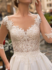 onlybridals Long Sleeve Boho Bride Dresses For Women A Line Ivory Lace Appliques Satin Wedding Gown - onlybridals