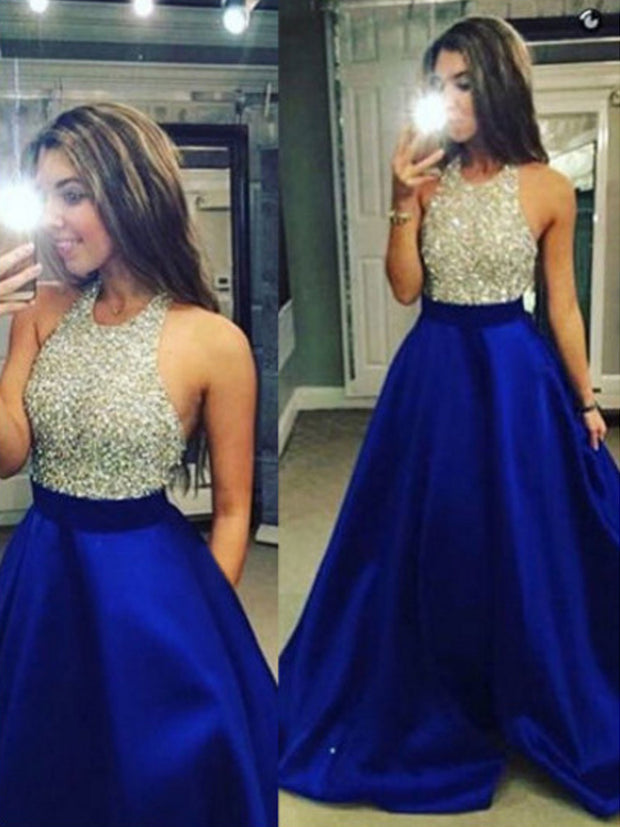 onlybridals Blue Contrast Color Floor Length Halter Sequined Satin Evening Dress Vestido - onlybridals