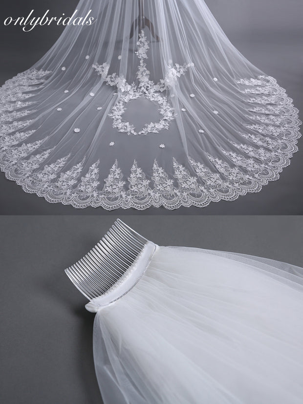 onlybridals  sluier White Tulle Lace Edge Long Beautiful Bridal Veil Cheap wedding veil with comb - onlybridals
