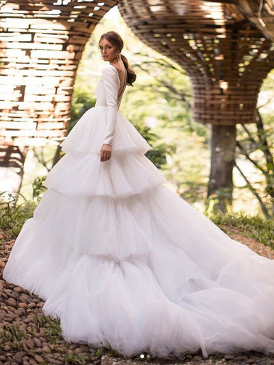 onlybridals Princess V Neck Long sleeve Beading Pearls Sequin Ball Gown Wedding Dresses | Puffy Illusion Back Bridal Gown