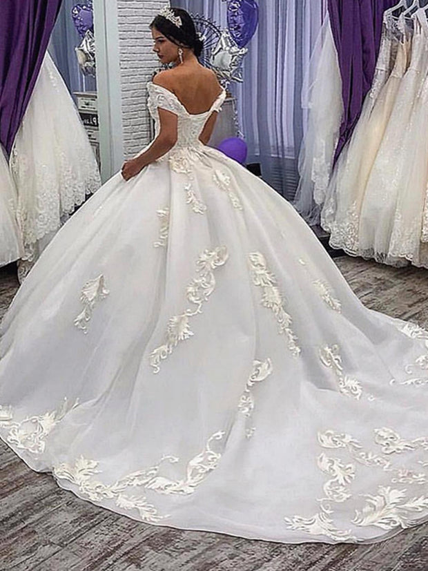 onlybridals Luxury Wedding Dresses Dubai Ball Gown Princess Country Wedding gown Off The Shoulder Appliques Plus Size - onlybridals