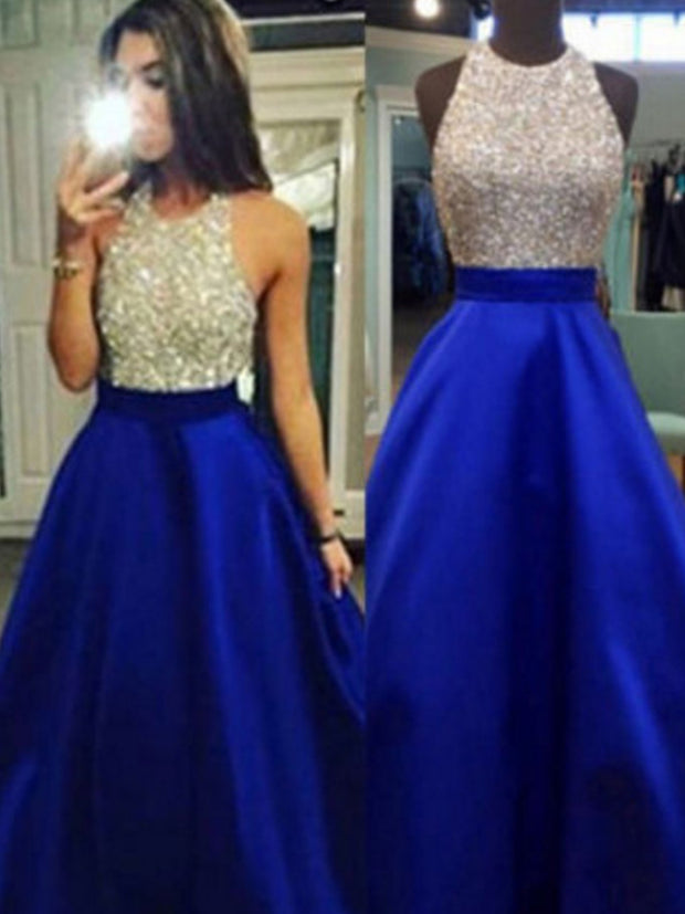 onlybridals Blue Contrast Color Floor Length Halter Sequined Satin Evening Dress Vestido