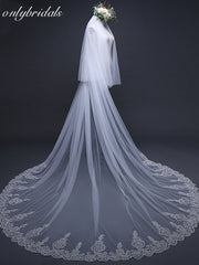 onlybridals 3 Meter veil wedding Long Lace Edge Bridal Veil with Comb Wedding Accessories - onlybridals