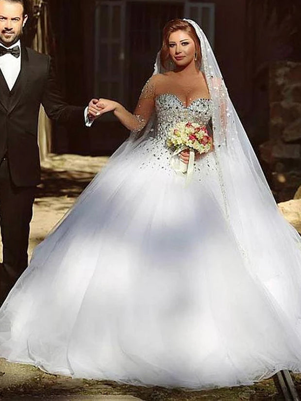 onlybridals Vintage Long Sleeve Beadings lace Ball Gown Tulle Wedding Dress - onlybridals