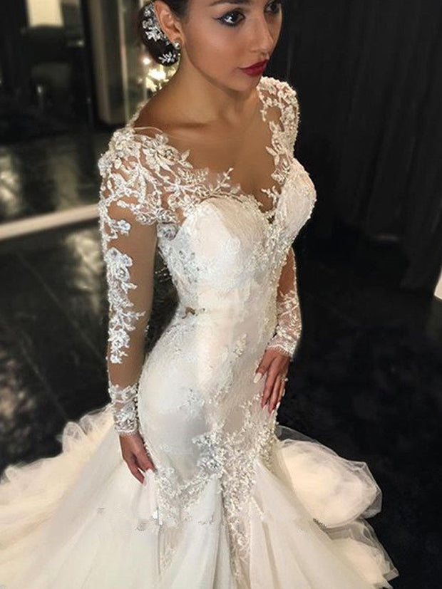 nlybridals Mermaid Wedding Dress Long Sleeves Lace Appliques Backless Bridal Dress Wedding Gown - onlybridals