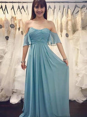 onlybridals Simple Bridesmaid Dresses Half Sleeve A Line Long Chiffon Cheap Boho Bridesmaid Dresses - onlybridals