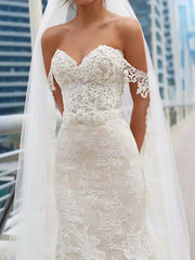 onlybridals Mermaid Bridal Gown Wedding Dress Off Shoulder Appliques Lace Sweep Train Custom - onlybridals