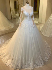 onlybridals Vintage Lace Long Sleeve Wedding Dress For Bride A Line Arabic Women Elegant Formal Bridal Gowns - onlybridals