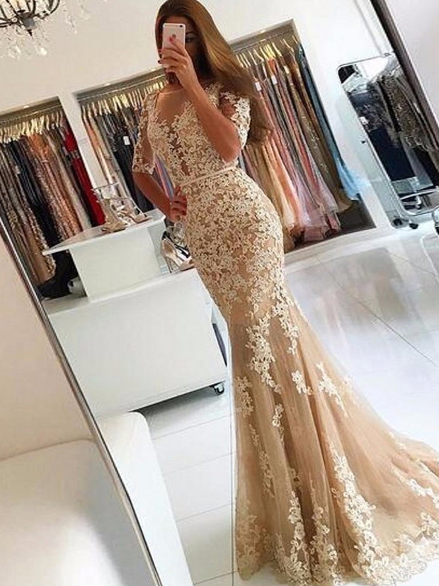 onlybridals Champagne Lace Tulle Mermaid Half Sleeves Sexy Backless Dress Illusion Sheer Scoop Formal Gown Bridesmaid Dresses