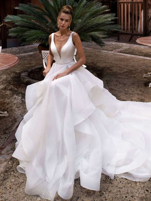 onlybridals V Neck Wedding Dress 2019 Organza Beach Bridal Gown Tiered Bottoms Wedding Dresses White/Ivory - onlybridals