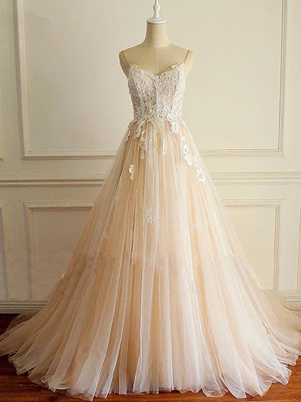 onlybridals Champagne v neck tulle lace long prom dress, champagne tulle evening dress