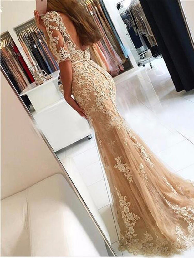 onlybridals Champagne Lace Tulle Mermaid Half Sleeves Sexy Backless Dress Illusion Sheer Scoop Formal Gown Bridesmaid Dresses - onlybridals