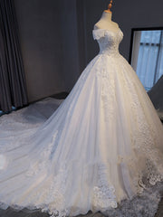 onlybridals Lace Chapel Train A-Line Wedding Dress 2019 Luxury Beaded Boat Neck Sexy Bridal Gown Vestido de Noiva - onlybridals