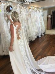 onlybridals 2020 Bohemian Wedding Dress Modest With Long Train Capes Garden Bridal Gown Custom Made Plus Size - onlybridals