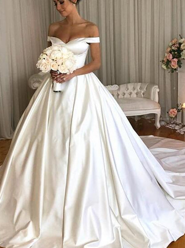 onlybridals Simple Ball Gown Wedding Dresses Off the Shoulder Sleeveless Bridal Gowns