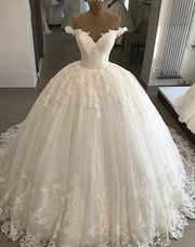 Sweetheart Off Shoulder A Line Wedding Dresses Lace Appliques Bridal Gown - onlybridals