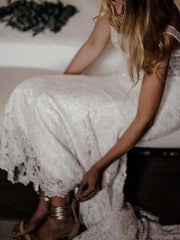 onlybridals Simple Ivory Lace Country Wedding Dresses V-Neck Mermaid Wedding Dress - onlybridals