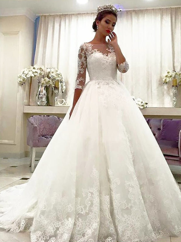 Ball Gown Tulle 3/4 Sleeves Bateau Lace Court Train Wedding Dresses - onlybridals