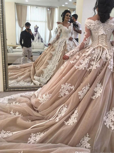 onlybridals Ball Gown Wedding Dress Lace Up Champagne Long Train Off The Shoulder Bridal Gowns With Sleeves Plus Size