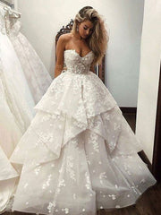 White sweetheart neck applique long prom dress evening dress - onlybridals