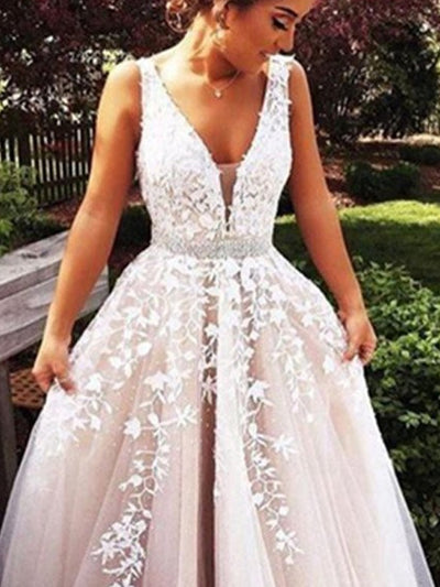 A-Line/Princess V-Neck Sleeveless Applique Tulle Sweep/Brush Train Wedding Dresses - onlybridals