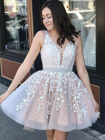 onlybridals V Neck LaceChampagne Homecoming Dresses Short Lace Dresses