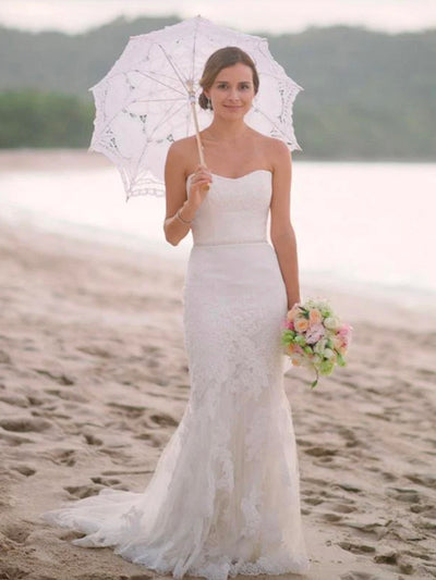 onlybridals White Lace Mermaid Sweetheart Off Shoulder Beach Wedding Dresses