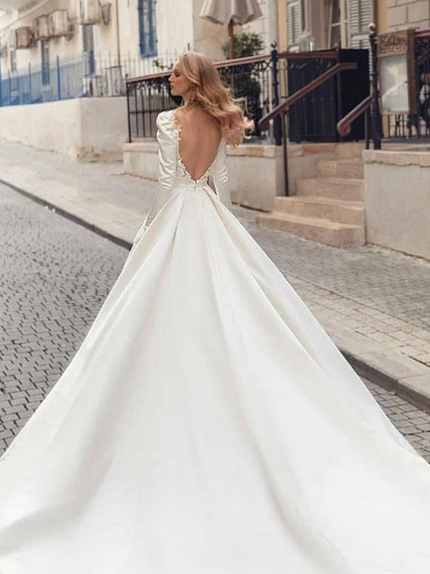 Ivory Long Sleeve Lace Split Long Wedding Dress - onlybridals