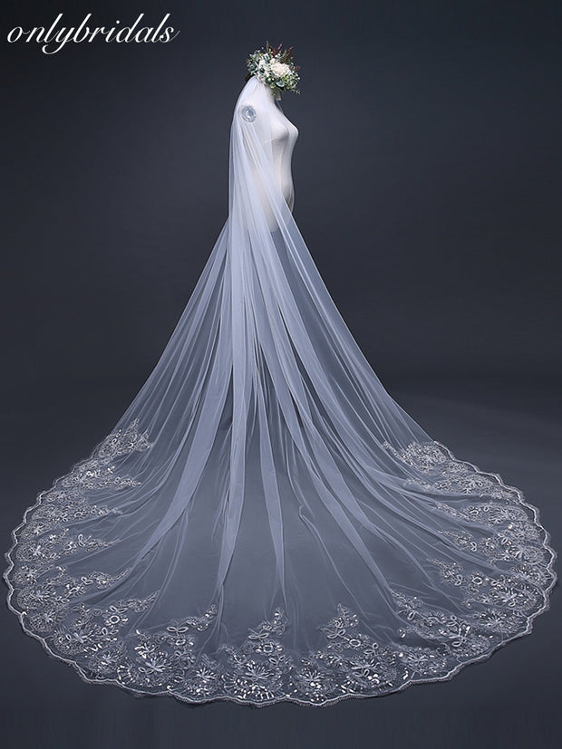 onlybridals 3 Meter White Ivory Cathedral Wedding Veils Long Lace Edge Bridal Veil with Comb - The Only Love Wedding Dress