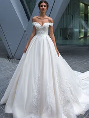 Ball gown off shoulder bridal gown wedding dress