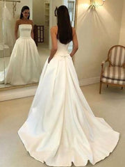 A-line Strapless Open Back Satin Ivory Wedding Dress with Pockets