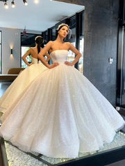 onlybridals Strapless Sequin Ball Gown Wedding Dress Open Back