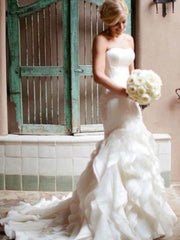Mermaid Sweetheart Court Train Organza Wedding Dresses - onlybridals