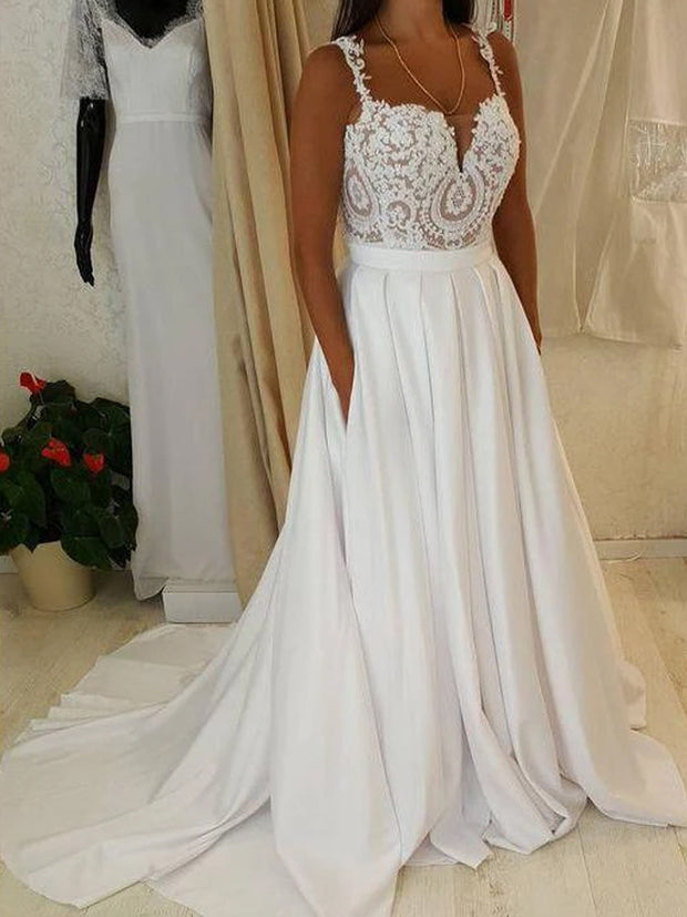 onlybridals Simple Wedding Dresses with Straps Appliques Aline Romantic Beautiful Bridal Gown - onlybridals